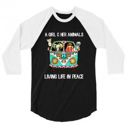 a girl and her animals living life in peace 3/4 Sleeve Shirt | Artistshot