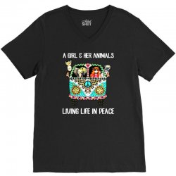 a girl and her animals living life in peace V-Neck Tee | Artistshot