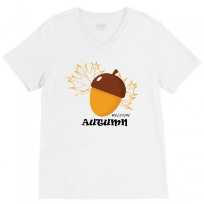 Welcome Autumn V-neck Tee Designed By Bettercallsaul