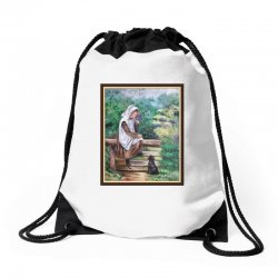 woman in the garden Drawstring Bags | Artistshot