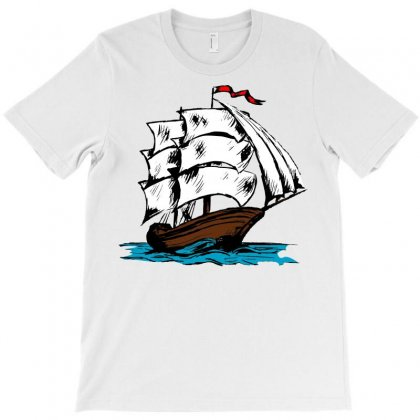 Ship With Blue Waves T-shirt Designed By Emadaldeans