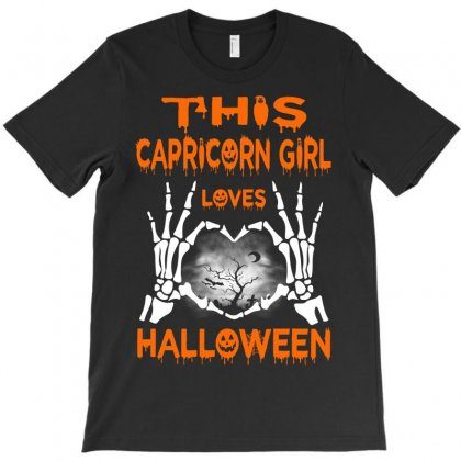 This Capricorn Girl Loves Halloween T-shirt Designed By Twinklered.com