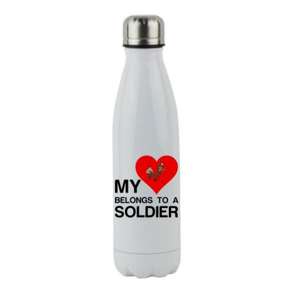 My Heart Belongs To A Soldier Stainless Steel Water Bottle Designed By Perfect Designers