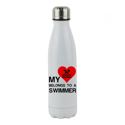 My Heart Belongs To A Swimmer Stainless Steel Water Bottle Designed By Perfect Designers