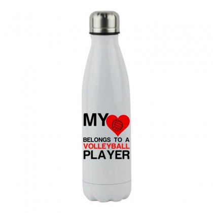 My Heart Belongs To A Volleyball Player Stainless Steel Water Bottle Designed By Perfect Designers