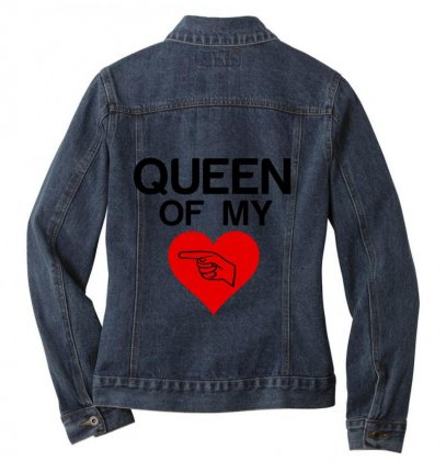 Queen Of My Heart Matching Couple Ladies Denim Jacket Designed By Perfect Designers