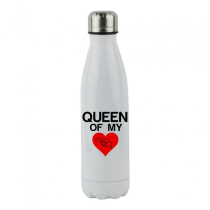 Queen Of My Heart Matching Couple Stainless Steel Water Bottle Designed By Perfect Designers
