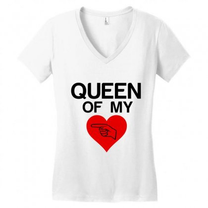 Queen Of My Heart Matching Couple Women's V-neck T-shirt Designed By Perfect Designers