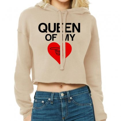 Queen Of My Heart Matching Couple Cropped Hoodie Designed By Perfect Designers