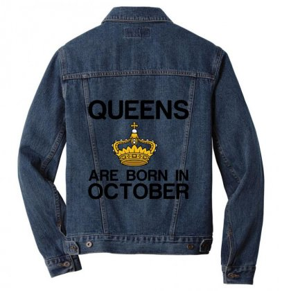 Queens Are Born In October Men Denim Jacket Designed By Perfect Designers