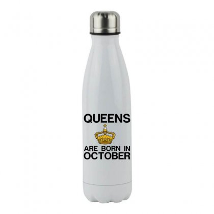 Queens Are Born In October Stainless Steel Water Bottle Designed By Perfect Designers