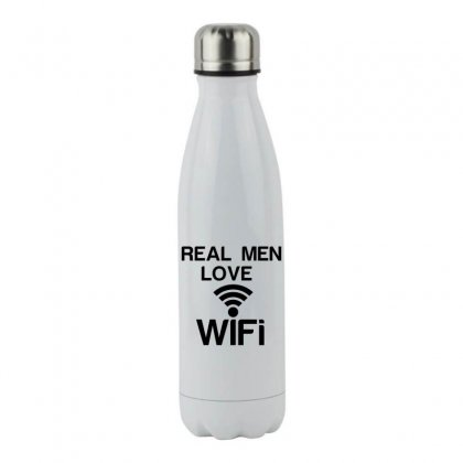 Real Men Love Wifi Stainless Steel Water Bottle Designed By Perfect Designers