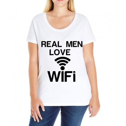 Real Men Love Wifi Ladies Curvy T-shirt Designed By Perfect Designers