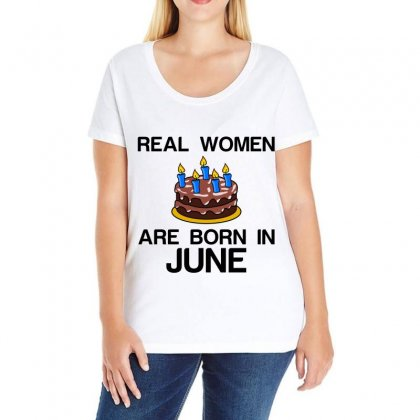 Real Women Are Born In June Ladies Curvy T-shirt Designed By Perfect Designers