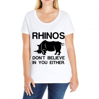 Rhinos Dont Believe Ladies Curvy T-shirt Designed By Perfect Designers