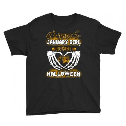 This January Girl Loves Halloween Youth Tee Designed By Twinklered.com