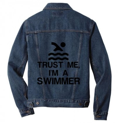 Trust Me, I'm A Swimmer Men Denim Jacket Designed By Perfect Designers