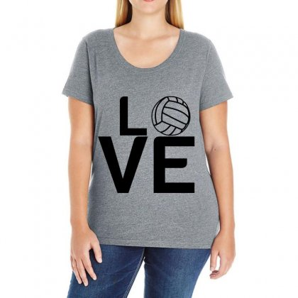 Volleyball Love Ladies Curvy T-shirt Designed By Perfect Designers