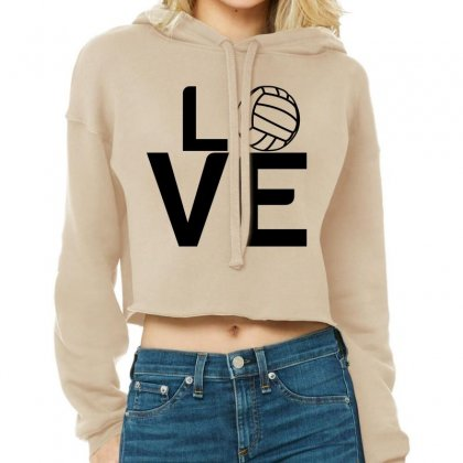 Volleyball Love Cropped Hoodie Designed By Perfect Designers