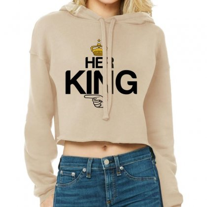 Couple Her King Cropped Hoodie Designed By Perfect Designers