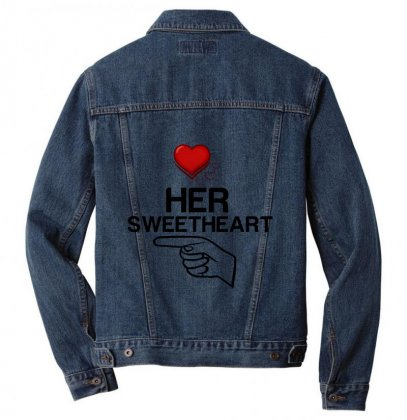 Couple Her Sweetheart Men Denim Jacket Designed By Perfect Designers
