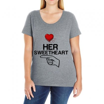 Couple Her Sweetheart Ladies Curvy T-shirt Designed By Perfect Designers