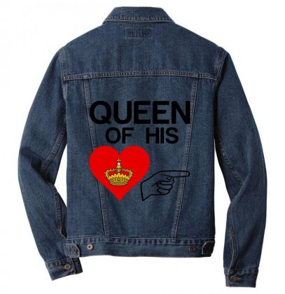 Couple Queen Of His Heart Men Denim Jacket Designed By Perfect Designers