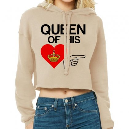 Couple Queen Of His Heart Cropped Hoodie Designed By Perfect Designers