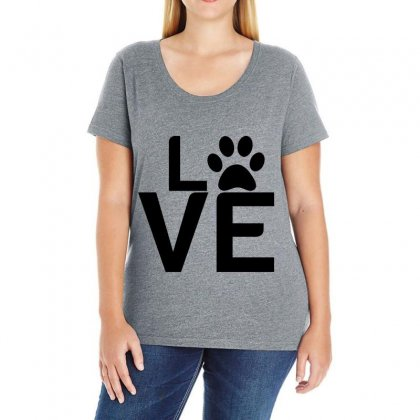 Dog Paw Love Ladies Curvy T-shirt Designed By Perfect Designers