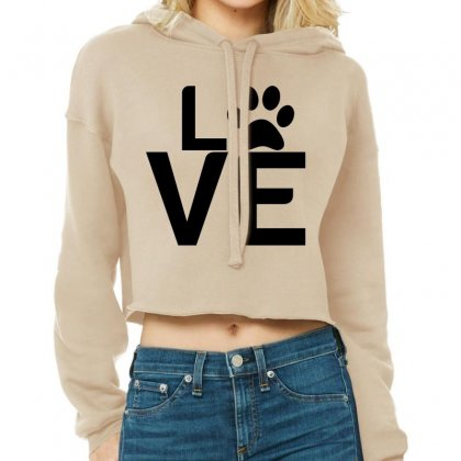 Dog Paw Love Cropped Hoodie Designed By Perfect Designers