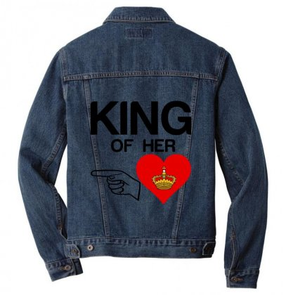 Couple King Of Her Heart Men Denim Jacket Designed By Perfect Designers