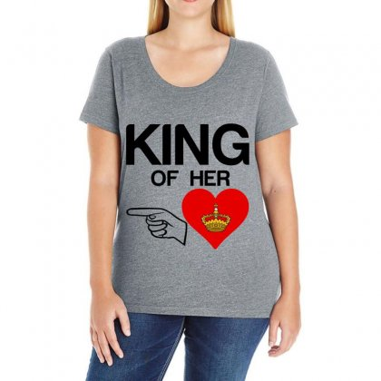 Couple King Of Her Heart Ladies Curvy T-shirt Designed By Perfect Designers