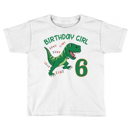 Dinosaurs Family Matching Birthday Girl For Age 6 Toddler T-shirt Designed By Toweroflandrose