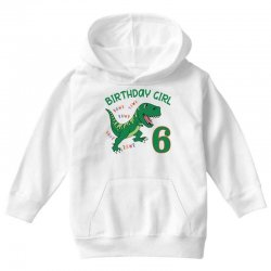 dinosaurs family matching birthday girl for age 6 Youth Hoodie | Artistshot