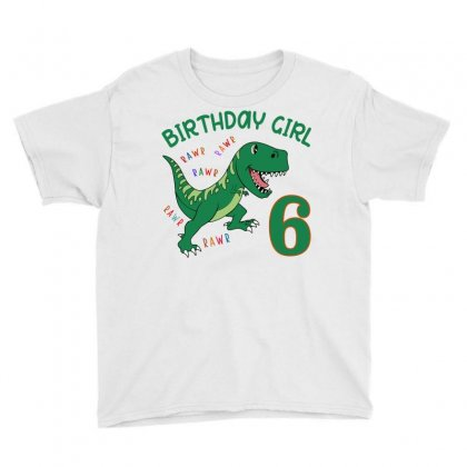 Dinosaurs Family Matching Birthday Girl For Age 6 Youth Tee Designed By Toweroflandrose