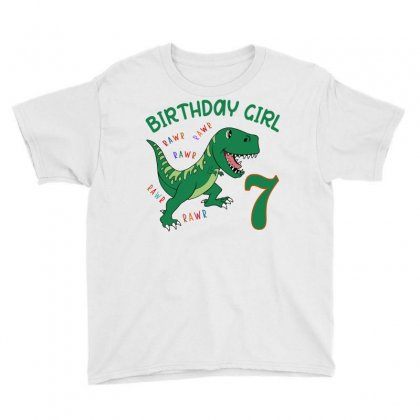 Dinosaurs Family Matching Birthday Girl For Age 7 Youth Tee Designed By Toweroflandrose
