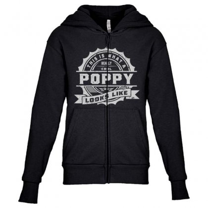 Really Cool Poppy Youth Zipper Hoodie Designed By Cidolopez