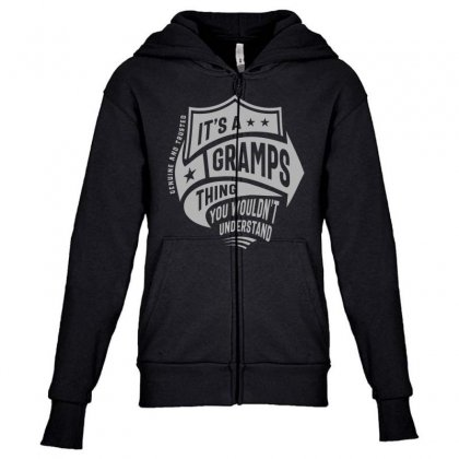 It's A Gramps Thing Youth Zipper Hoodie Designed By Cidolopez