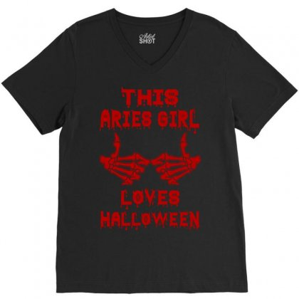 Halloween 2019 This Aries Girl Loves Halloween V-neck Tee Designed By Twinklered.com