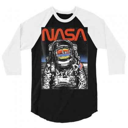 Nasa Astronaut Moon Reflection Vintage Retro Graphic T Shirt 3/4 Sleeve Shirt Designed By Nhan