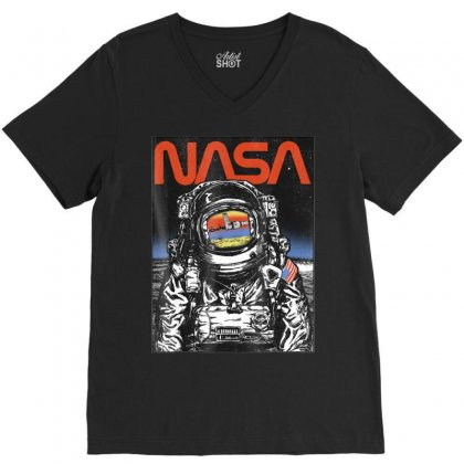 Nasa Astronaut Moon Reflection Vintage Retro Graphic T Shirt V-neck Tee Designed By Nhan