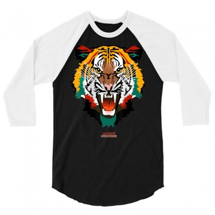 Shirt With Tiger Face Tiger T Shirt Fashion Graphic Tees 3/4 Sleeve Shirt Designed By Tran Ngoc