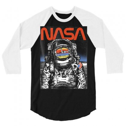 Nasa Astronaut Moon Reflection Vintage Retro Graphic T Shirt 3/4 Sleeve Shirt Designed By Tran Ngoc