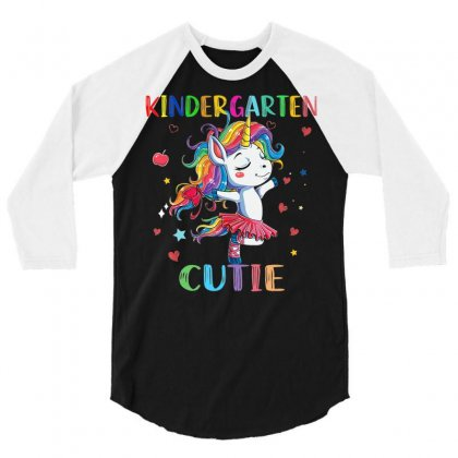 Kindergarten Cutie Shirt Cute Unicorn Dancing Back To School 3/4 Sleeve Shirt Designed By Tran Ngoc