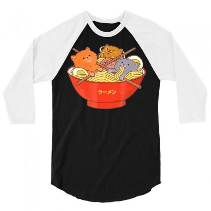 Kawaii Anime Cat Shirt Japanese Ramen Noodles Gift Tshirt 3/4 Sleeve Shirt Designed By Tran Ngoc
