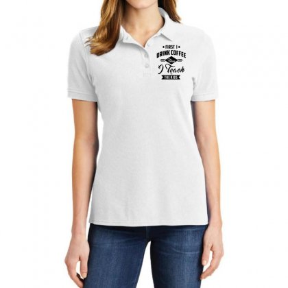 First I Drink Coffee Then I Teach The Kids Ladies Polo Shirt Designed By Ale C. Lopez