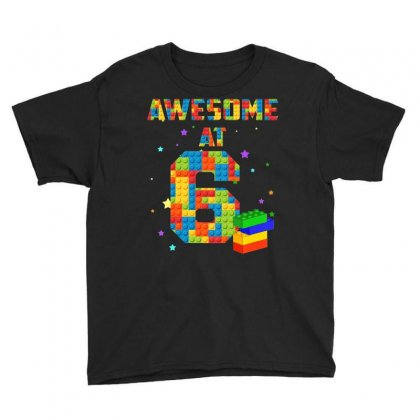 Kids Birthday Shirt For Kids 6 Building Blocks Bricks Theme Party Youth Tee Designed By Mdk Art