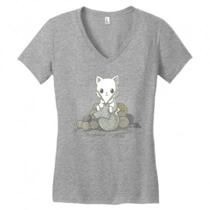 Gifts For People Who Like Knitting Women's V-neck T-shirt Designed By Mdk Art