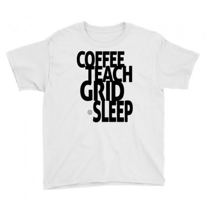 Coffee, Teach, Grid, Sleep Youth Tee Designed By Ale Ceconello