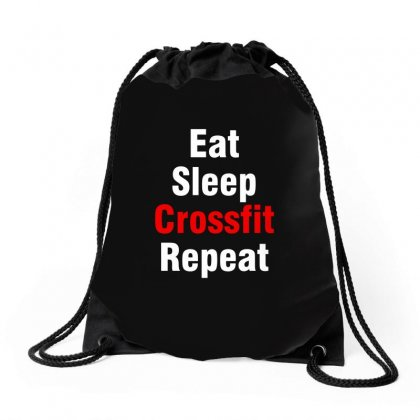 Eat Sleep Crossfit Drawstring Bags Designed By Yellow Star